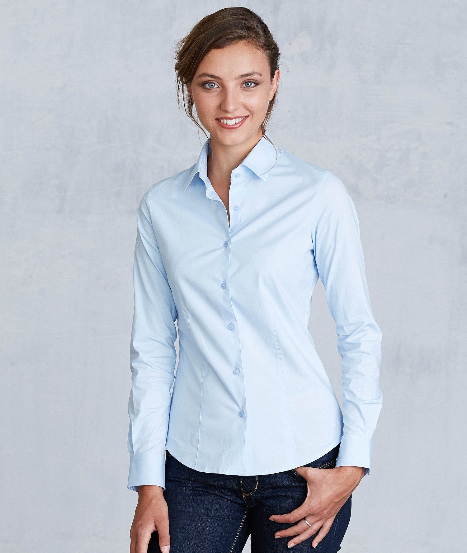 KARIBAN LADIES LONG SLEEVE EASY CARE STRETCH SHIRT